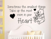 Graphics 'n' Tees - Winnie The Pooh & Piglet, Sometimes Smallest Things, Most Room In Your Heart, Nursery Wall Sticker Quote, Baby Boy Girl Bedroom Playroom Wall Sticker - In Black - Other Colours Available (Medium