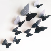 12 Pieces 3D Butterfly Stickrs Fashion Design DIY Wall Decoration House Decoration Babyroom Decoration-BLACK
