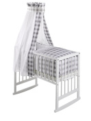 Schardt Vario Multifunctional Crib White with Grey Vichy Cheque Fabrics