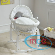 MCC Full Set White Wicker Moses Basket With Cream Waffle Dressing 100% Cotton & Rocking Stand