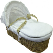 Babies Firsts Waffle Palm Moses Basket with Fittings Mattress and Foldable Wooden Stand