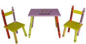Bebe Style Childrens Wooden Table and Chair set - Crayon Themed