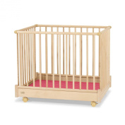 Herlag H1055-3602 Playpen 75 x 100 cm Natural-Coloured with Red Mattress