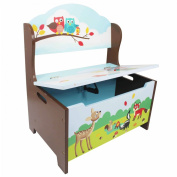 Fantasy Fields by Teamson Enchanted Woodland Childrens Wooden Toy Box Tidy Storage Bench Seat TD-11734A