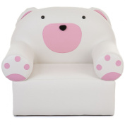 Kids' White and Pink Bear Chair