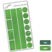 SafeKIDS luminous sticker, GREEN, 13 stickers for pushchairs, bicycle helmets and more