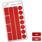 SafeKIDS luminous sticker, RED, 13 stickers for pushchairs, bicycle helmets and more