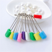 10Pcs Baby Safety Pin Stainless Steel Cloth Bib Nappy Handkerchief Random Colour
