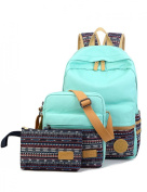Leaper Casual Style Lightweight Canvas Laptop Bag / Cute backpacks + Shoulder Bag / School Backpack + Purse (3 PCS) Water Blue