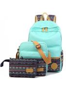 Leaper Casual Style Lightweight Canvas Laptop Bag / Cute backpacks + Shoulder Bag / School Backpack + Purse (3 PCS) Water Blue