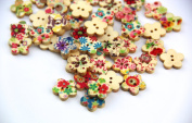 RayLineDo® Mixed Flower Printed Flower Shaped Wooden Buttons Crafting Sewing DIY 2 Holes