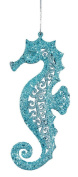 Teal Blue Glitter Seahorse Christmas Ornament