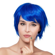 THZ Short Women's Straight Blue Flat Bangs Cosplay Party Heat-resistance Full Hair Wigs