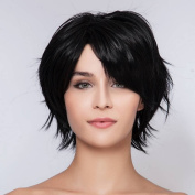 THZ Natural Women's short Dark Black Straight Fluffy Heat-resistance Full Hair Wigs