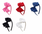 Cloris Boutique Bow Grosgrain Ribbon Wrapped Headbands Red Hot Pink Navy Black White