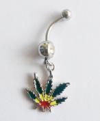 14 Gauge Jamaican Pot Leaf Dangle Crystal Navel Belly Ring Bar Green