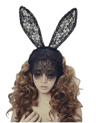 Sealike Lady Filigree Lace Veil Wedding Black Mask Party Mask Headband Hair Lacework with Rabbit Bunny Ears Great for Christmas Party Dress with a Stylus