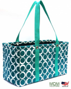 "MDM Large Utility Tote Bag, Organiser, Laundry Bag ""Teal & White-Green"""