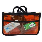 Clear Handbag Organiser See Through Cosmetic Gadget Insert Purse Organiser Transparent Makeup Travel Pouch Liner with Handle Orange