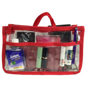 Clear Handbag Organiser See Through Cosmetic Badget Insert Purse Organiser Transparent Travel Pouch Liner with handle, Red
