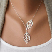 Doinshop Womens New Simple Necklace Metal Double Leaf Pendant Alloy Choker Chain