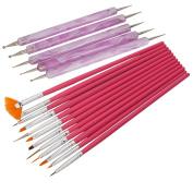 Leegoal 12pcs Nail Art Detailing Painting Drawing Brushes + 5 X 2 Way Marbleizing Dotting Pen Tool Set