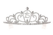 Birthday Party Rhinestone Crystal Tiara Crown - 15th Fifteenth Quinceanera T1167