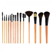 Peleustech 15Pcs Professional Wooden Cosmetic Makeup Brush with Black Roll-up PU Leather Case