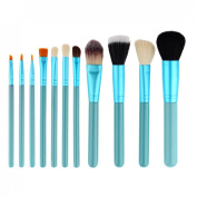 Peleustech 12 in 1 Professional Cosmetic Makeup Brush Kit with Barrel Packaging Foundation Blush Brush Tools - Blue-green