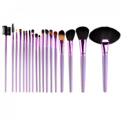 Peleustech 18Pcs Professional Cosmetic Makeup Brush Purple with Blue Roll-up PU Leather Case