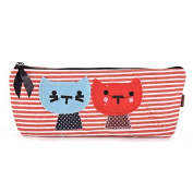 Buytra Cat Canvas Student Pen Pencil Case Coin Purse Pouch Cosmetic Makeup Bag