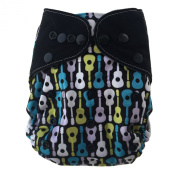 "HappyEndings ""Night, Night""TM Charcoal Bamboo or Micro Fleece AIO Nappy (Plus Pocket & 5 Layer Charcoal Bamboo Insert)"