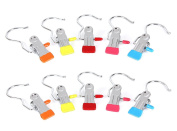 Set of 10 Colour Collection Laundry Hooks Pins Boot Hanger Clips Home Travel Portable