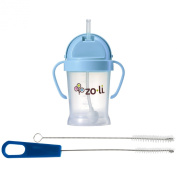 Zoli Bot Straw Sippy Cup with Sippy Cup Cleaner, Blue