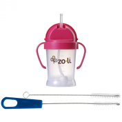 Zoli Bot Straw Sippy Cup with Sippy Cup Cleaner, Pink