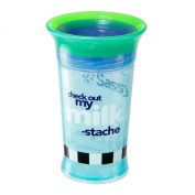Sassy Spoutless Slogan Grow Up Cup, Cheque Out My Milk-Stache, 270ml
