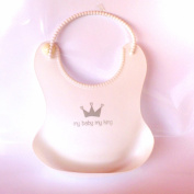 Bib for Baby on White Silicone. Cute Soft Colours Bibs with Pocket Food Catcher for Easy Baby Feeding. Dishwasher Safe. Clean and Elegant Babies and Toddlers All the Time. Plus Recipes E-book.