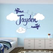 Custom Aeroplane Name Wall Decal - Boys Kids Room Decor - Nursery Wall Decals - Aeroplanes Wall Decors