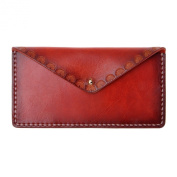 ZLYC Women Handmade Vegetable Tanned Leather Long Minimalist Slim Wallet Clutch