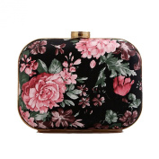 Afibi Womens Patent Leather Flower Retro Clutch Evening Bag Purse