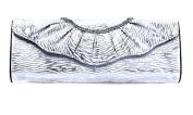 Zebra Print Ruffle Evening Clutch Handbag W Detachable Strap Silver Colour