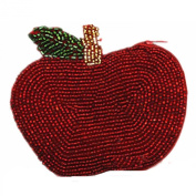 E.a@market DIY Red Apple Change Purse Pure Manual Beaded Coin Purse