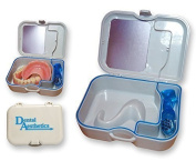 FreshGadgetz Denture Storage Case With Mirror & Brush - Container Bath For Soaking Dentures, Retainers & Other Dental Appliances