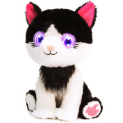 Bright Eyes Plush - Pink/Black & White Kitty Rosy