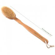 Brusybrush Extra Long Handle Bath Brush - Beech Wood Handle and Natural Boar Bristle Head - Best Body Scrub Exfoliating Brush on Amazon