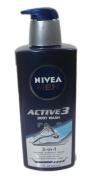 Nivea Men Active 3 Body Wash, Shampoo, Shaving Gel 620ml