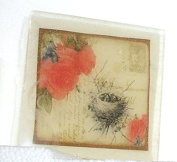 Birds nest postcard theme soap, Vintage design Red floral Pretty as a picture soap, Handmade in the USA