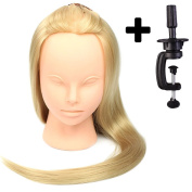 60cm Cosmetology Mannequin Heads, High Temperature Synthetic Fibre Head, Makeup Practise Mannequin Head with Table Clamp Holder -Blonde Colour
