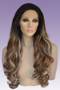 Long Brown Ombre Lace Front Wig with Blonde Highlights