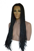 Long Braided Lace Front Wig with Loose Ends